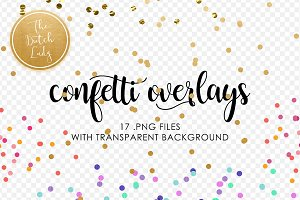 Golden Confetti Clipart Overlays