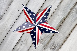 Fourth of July Star on rustic wood