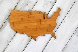 Wooden shape of USA