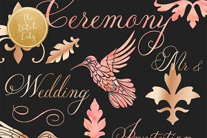 Elegant Wedding Clipart Rose Gold