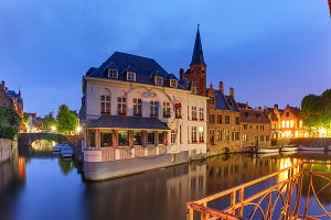Old town at night, Bruges, Belgium