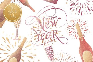 Happy New Year & Party Clipart Set