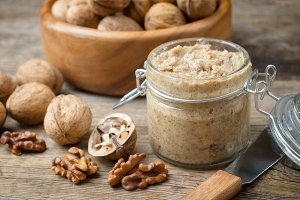 Raw walnut butter and fresh nuts.