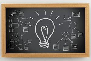 3d Blackboard with business sketch.