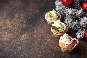 Christmas festive cupcake with