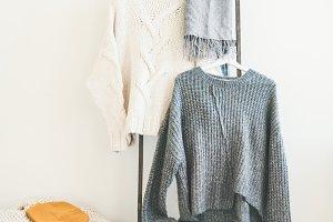 Fall or winter warm knitwear on