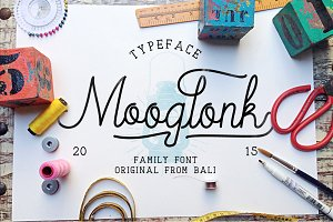 Mooglonk Font + Badges & Brush