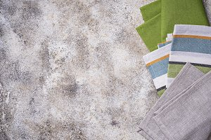 Linen tablecloth on concrete