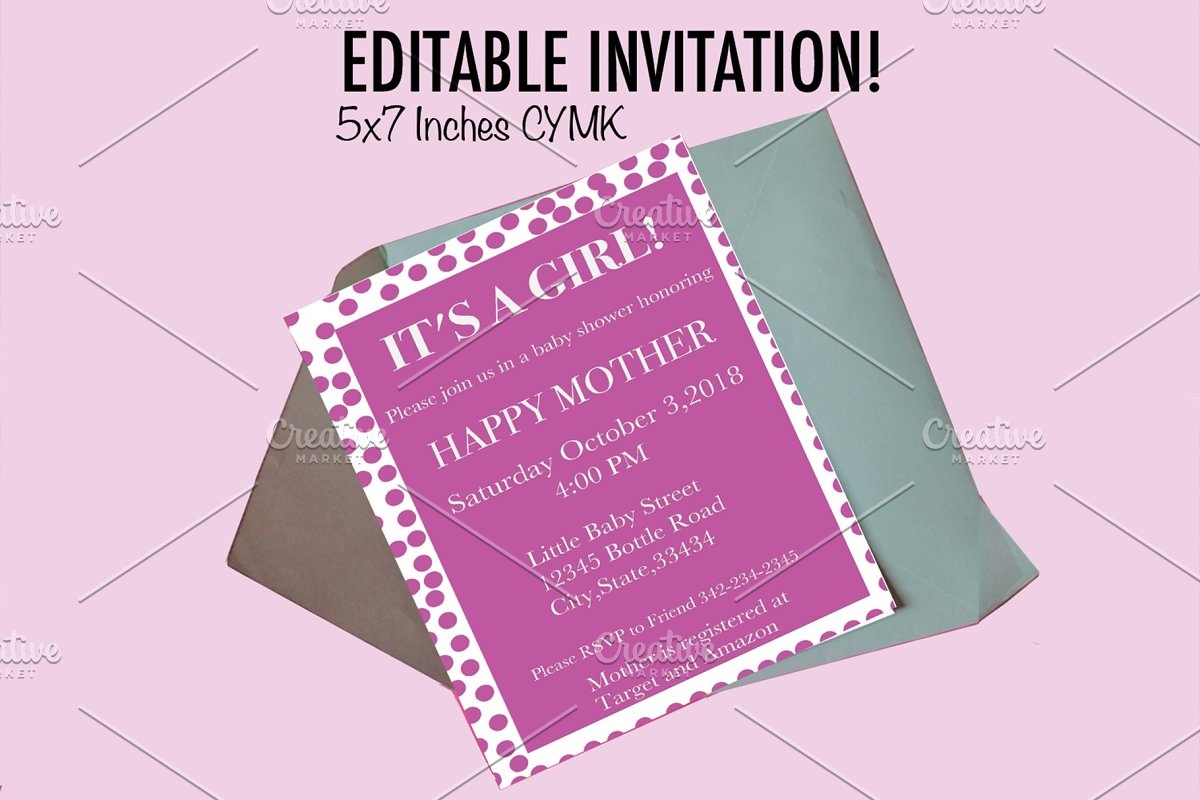 Baby Shower Invitation Invitation Templates Creative Market