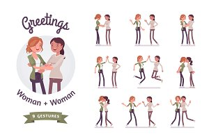 Female close friends greeting set