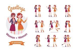 Female friends greeting set