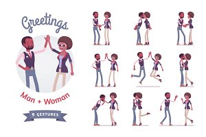 Male and female friends greeting set