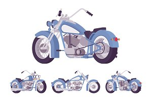 Chopper custom motorcycle blue set