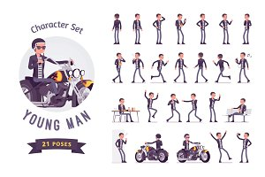 Cool rocker boy character set