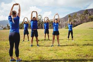 Female trainer giving training