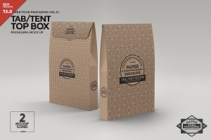 Tab Tent Top Box Packaging Mockup