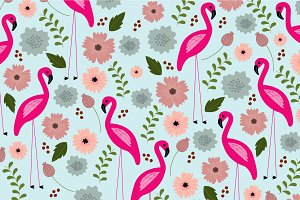 seamless flamingo and flower vector