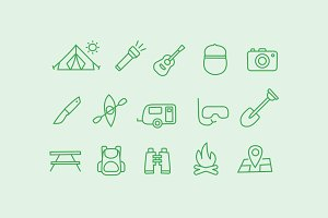 15 Camping Doodle Icons