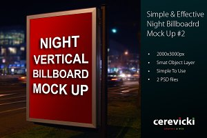 Night Vertical Billboard Mock Up
