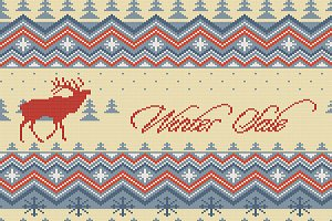 Christmas knitted woolen pattern