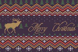 Winter knitted woolen pattern