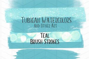 12 Brush Strokes - 6 Teal and 6 Rose