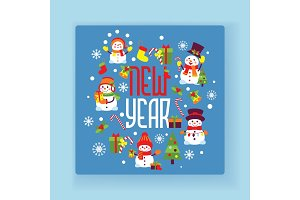 New year snowman vector Merry