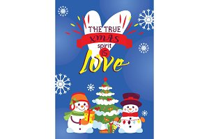 Snowman card vector Merry Christmas