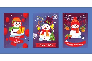 Merry Christmas snowman vector New