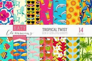 Tropical Twist digital paper pack