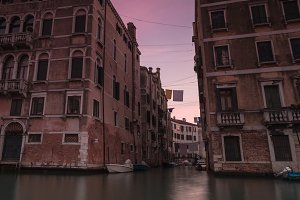 Canal view in Venice at sunset