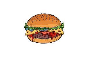Burger, isolate on white background