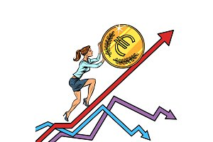 woman businesswoman roll a euro coin