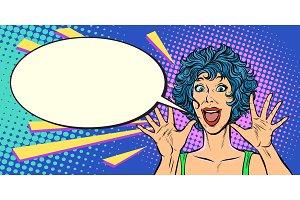 surprise woman, pop art style woman