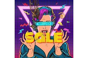 sale. online shopping. joyful woman