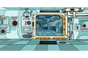 space ship corridor. Science fiction