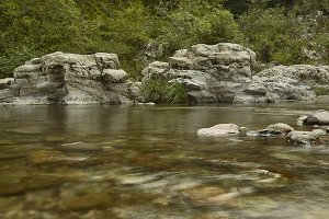 Silky water and rocks in the mountai