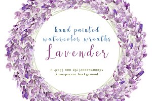 Lavender watercolor wreaths