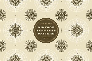 Seamless compass rose pattern