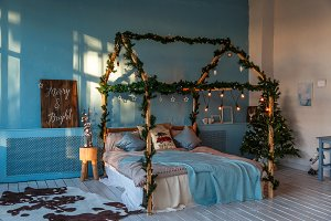 Loft with Christmas decoration and