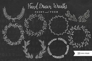 Hand Drawn Laurels - Black & White