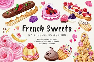 French Sweets Watercolor Collection