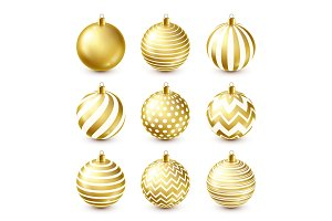 Christmas Tree Shiny Golden Balls