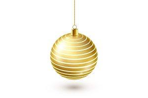 Christmas Tree Shiny Golden Ball