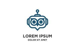 robot owl logo icon vector