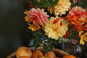 Oranges and dahlias