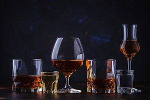 Selection of strong alcoholic drinks