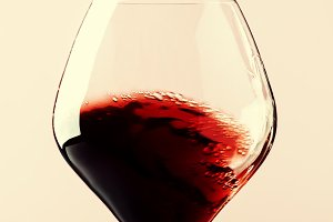 Dry red wine, splash in glass, pink