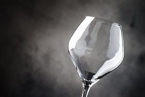 Empty wine glass for red wine, gray