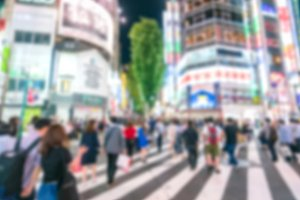 blur abstract anonymous people walk